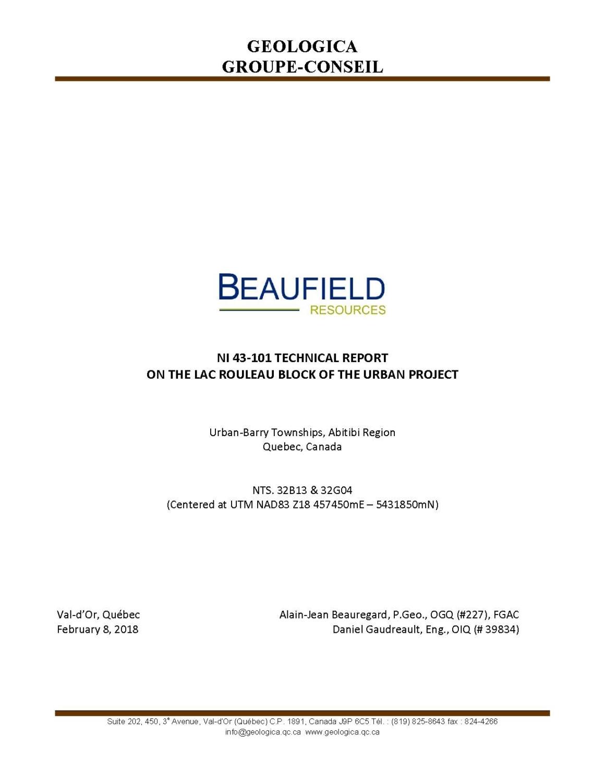 NI 43-101 Technical Report of February_8_2018